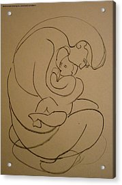 Acrylic Print featuring the drawing Motherhood by Laila Awad Jamaleldin