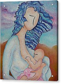Motherhood Painting Everywhere Original Oil By Gioia Albano Acrylic Print by Gioia Albano
