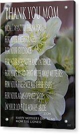 Mothers Day  Poem Acrylic Print by Debra     Vatalaro