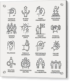Motivation Icon Set - Line Series Acrylic Print by Enis Aksoy