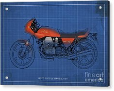 Moto Guzzi Le Mans IIi 1981 Vintage Style Acrylic Print by Pablo Franchi