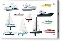 Motor Boat And Sailboat Set Acrylic Print