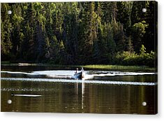Acrylic Print featuring the photograph Motor Boat On The Lake by Marek Poplawski