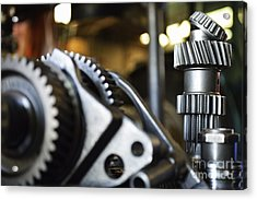 Motor Gears To Be Assembled Acrylic Print by Sami Sarkis
