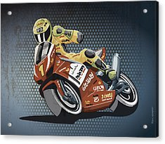 Motorbike Racing Grunge Color Acrylic Print