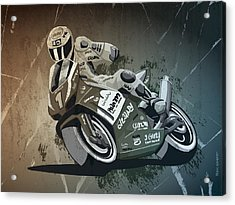Motorbike Racing Grunge Monochrome Acrylic Print
