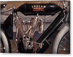 Motorcycle - An Oldie But A Goodie  Acrylic Print by Mike Savad