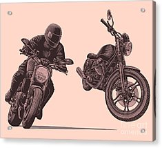 Motorcycle. Hand Drawn Engraving Acrylic Print by Marzufello