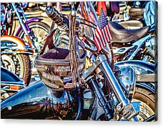 Acrylic Print featuring the photograph Motorcycle Helmet And Flag by Eleanor Abramson