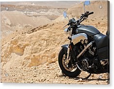 Motorcycle In A Desert Acrylic Print