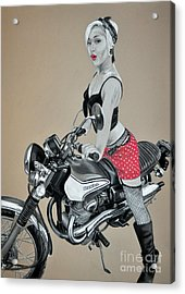 Motorcycle Pin Up Acrylic Print