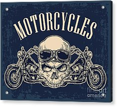 Motorcycle Side View And Skull With Acrylic Print