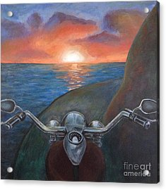 Motorcycle Sunset Acrylic Print