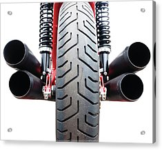 Motorcycle Wheel And Exhaust Pipes Acrylic Print