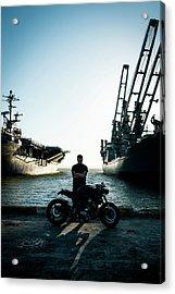 Motorcyclist At The Docks Acrylic Print