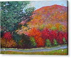 Moungtains In September Acrylic Print by Julia Lesnichy