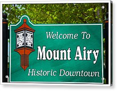 Mount Airy Sign Nc Acrylic Print by Bob Pardue