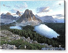 Mount Assiniboine In Pencil Acrylic Print