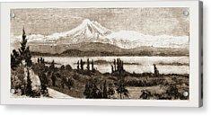 Mount Baker And San Juan Island As Seen Through A Field Acrylic Print by Litz Collection