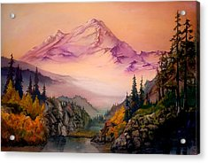 Acrylic Print featuring the painting Mount Baker Morning by Sherry Shipley