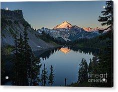 Mount Baker Sunrise Reflection Serenity Acrylic Print by Mike Reid