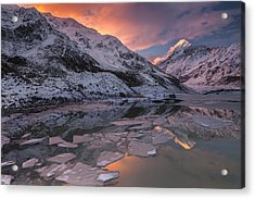Mount Cook And Mueller Lake In Mount Acrylic Print