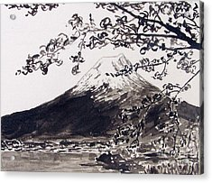 Mount Fuji Spring Blossoms Acrylic Print by Kevin Croitz