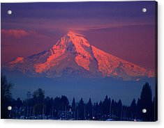 Mount Hood At Sunset Acrylic Print by DerekTXFactor Creative