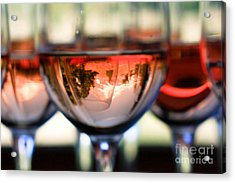 Mount Hood In A Wine Glass Acrylic Print by Cari Gesch