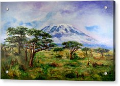 Acrylic Print featuring the painting Mount Kilimanjaro Tanzania by Sher Nasser