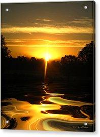 Mount Lassen Sunrise Gold Acrylic Print by Joyce Dickens