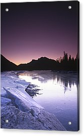Mount Mcgillvary Silhouetted Behind An Icy Bow River Acrylic Print by Richard Berry