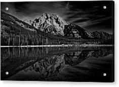 Mount Moran In Black And White Acrylic Print by Raymond Salani III