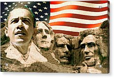 Barack Obama On Mount Rushmore - American Art Poster Acrylic Print