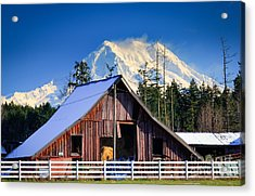 Mount Rainier And Barn Acrylic Print by Inge Johnsson