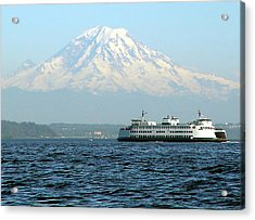 Mount Rainier And Ferry Acrylic Print