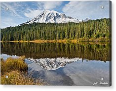 Acrylic Print featuring the photograph Mount Rainier And Reflection Lakes In The Fall by Jeff Goulden