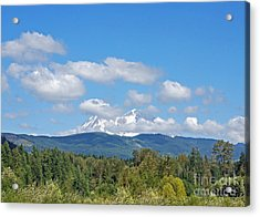 Mount Rainier As Viewed From The West Acrylic Print by Connie Fox