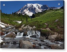 Acrylic Print featuring the photograph Mount Rainier At Edith Creek by Bob Noble Photography