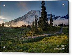 Mount Rainier Evening Fog Acrylic Print by Mike Reid