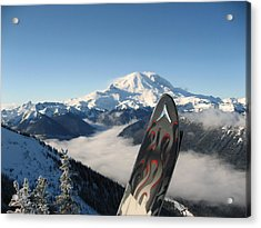 Mount Rainier Has Skis Acrylic Print