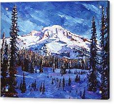 Mount Rainier Impressions Acrylic Print by David Lloyd Glover