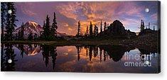 Mount Rainier Sunrise Reflection Glow Acrylic Print by Mike Reid