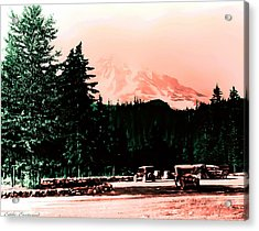 Mount Rainier With Vintage Cars Early 1900 Era... Acrylic Print