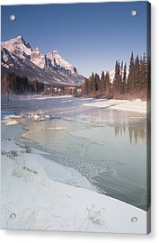 Mount Rundle And Creek In Winter  Acrylic Print