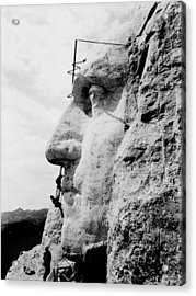 Mount Rushmore Construction Photo Acrylic Print by War Is Hell Store