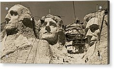 Mount Rushmore Construction Acrylic Print by Underwood Archives