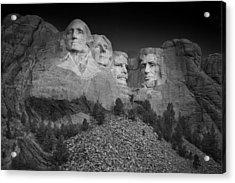 Mount Rushmore South Dakota Dawn  B W Acrylic Print by Steve Gadomski