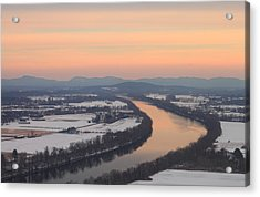 Mount Sugarloaf Connecticut River Winter Sunset Acrylic Print by John Burk
