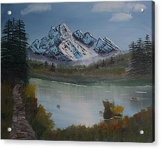 Acrylic Print featuring the painting Mountain And River by Ian Donley